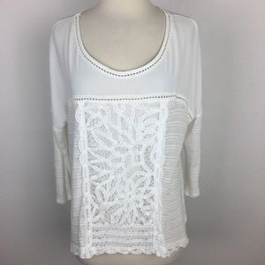 Meadow Rue White Lace Front Top Medium